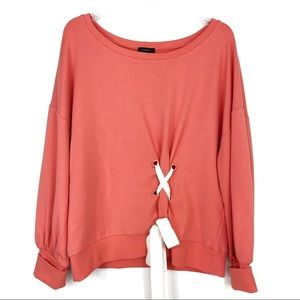 Halogen Front Lace Up Sweatshirt